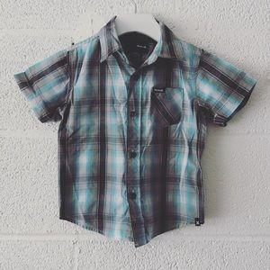 Hurley plaid shirt sleeve button down sz: 24M